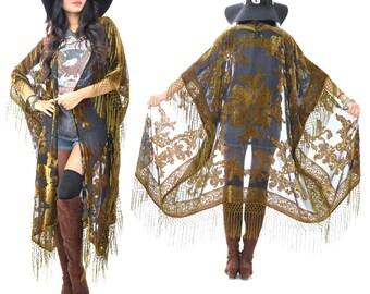 Sheer Silk Burnout Velvet Fringe Hippie Boho Gypsy MOSS Fall Kimono Jacket