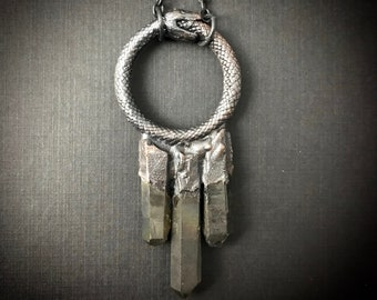 Ouroboros Talisman   Snake Necklace   Black Quartz Necklace