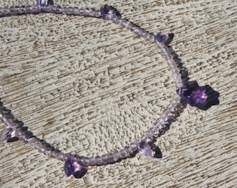AMETHYST STAR NECKLACE. Lavender/ purple marquise gemstones, pink amethyst, S.S. Choker/Natural/ aaa grade/youthful/ boho/sparkle/graduation
