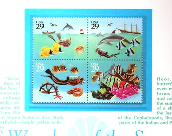 Wonders of the Sea Commemorative Panel /USPS /Philately /Postage stamps/ Collectible /Stamp collecting/ fish stamps/ sea life