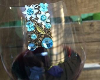 Blue Julia Flower Wine Glass Marker