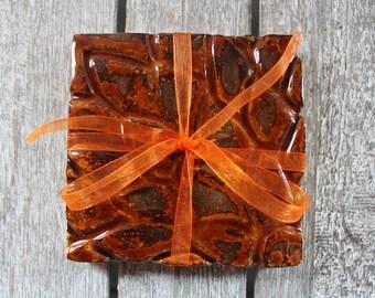 Ceramic Coasters, Handmade, set of 2, square, carved, flowers, fiery rust orange copper brown, glazed, home decor, Glazed White Stoneware