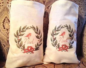 2 Noel Christmas Wreath Bags - Drawstring Bags - Gift Favor Bag, Wine Bags Large 7x11