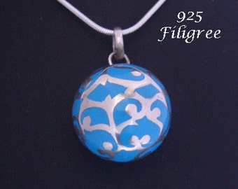 Harmony Ball pendant: Large 20mm Blue Harmony Ball wrapped with intricate fine 925 Sterling Silver Filigree, Bola Necklace, Angel Caller 596