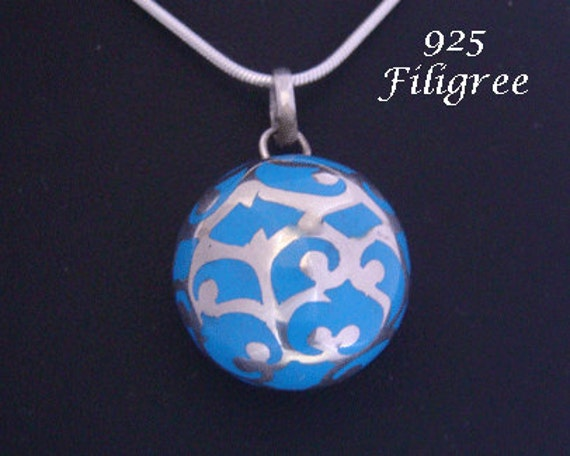 Harmony ball pendant large 20mm blue harmony ball wrapped harmony ball pendant large 20mm blue harmony ball wrapped with intricate fine 925 sterling silver filigree bola necklace angel caller 596 aloadofball Gallery