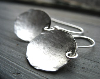 Silver Dome Hammered Handmade Earrings Artisan Jewelry