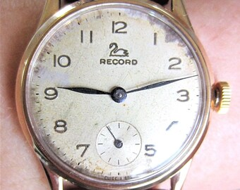 Gents 1960 9ct Gold Record Mechanical 15J Watch With Sub Dial c.022-18 Serviced