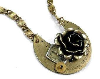 Steampunk Jewelry Necklace Vintage Gold Pocket Watch Brass ROSE Dial Wedding, Anniversary, Mothers Day, Gift For Her - Jewelry by edmdesigns