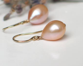 Teardrop Pearl Earrings | Peach Pink Champagne Freshwater Pearls | 14k Gold Fill Dangles | Birthday Wedding Everyday Pearl | Ready to Ship