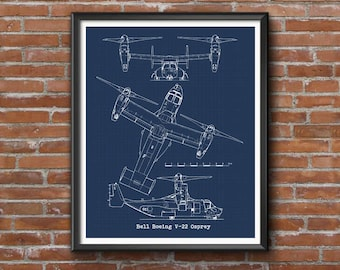 "V22 Osprey blueprint, Boeing V-22 Osprey, Instant Download, Marines V22 Osprey, Blueprint Art, V-22 Osprey, Aviation Decor, 8x10"", 11x14"""