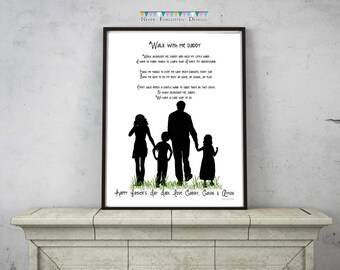 Customized Silhouette Family for Dad Father's Day Birthday - Typography Subway