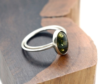 Green Baltic Amber Oval Shaped ring, 6 1/4 and 6 3/4