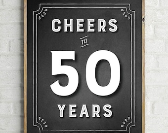 50 Years Party Decoration | Cheers to 50 Years Sign | 50 Years Sign Printable | Cheers to 50 Years Sign | 50 Years Sign | Rustic Decor