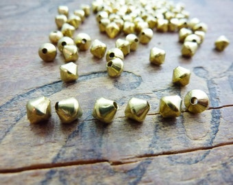 Brass Bead Metal Bead Solid Brass Small Bead 4mm Brass Bead Vintage Bead (20)