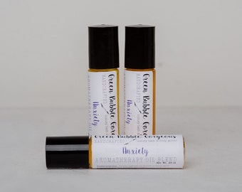 Aromatherapy Anxiety Roll On, made with essential oils, by green bubble gorgeous on etsy