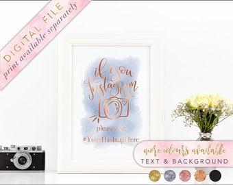 Instagram Sign, Printable, Printable Wedding Signage, Watercolour Printable Instagram sign, Wedding hashtag, Printable Signage