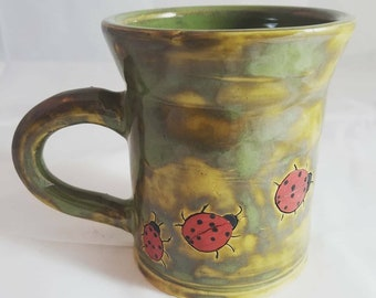 Handmade, Ladybug Ceramic Mug, Unique Gifts, Lady bugs, Gifts for Her, Green Tea Mug, Large Coffee Cup, Gift Ideas by A Marsh Pottery
