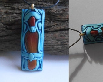 Triple Jasper Pendant in blue  / hand dyed air dry clay / jasper / jewelry / pendant / no filters / chain friendly / COPING CRYSTALS