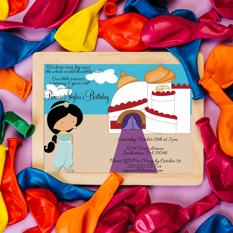 Aladdin Inspired Birthday Invitation Princess Jasmine # Muebles Jasmine