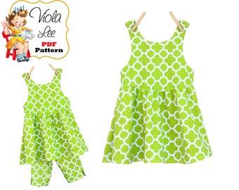 Girls Knit Fabric Dress & Top pdf Pattern. Girls Easy Sewing Pattern. Toddler Summer Dress-Jumper Pattern. Child Sizes 2-3-4-5-6-8  Rosie