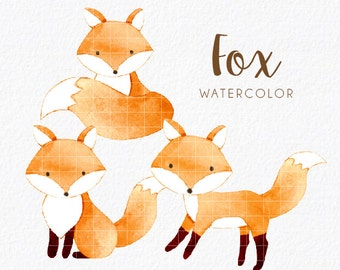 fox watercolor clipart, watercolor clipart, woodland watercolor clipart, fox, woodland, watercolor, cute, baby fox, png, instant download