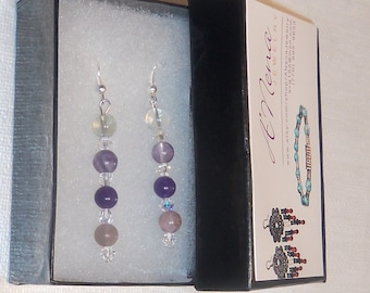 "Women's Earrings :Genuine  Purple Fluorite, Purple Amethyst and Purple Quartizite ""Queen Of My Destiny"" By ANena  Jewelry"