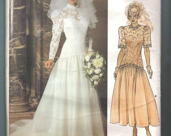 Vogue 1660 Bridal Original Wedding Dress Gown 1980s Sewing Pattern Size 8 Bust 31 UNCUT