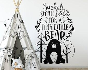 Nursery Wall Decal - Bear Decal, Woodland Nursery Quote, Wall Quote, Vinyl Wall Decal, Wall Sticker, Cute Nursery Decor