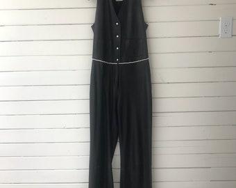 Rare Vintage Chanel Couture Black Leather Sleevless Button Down Wide Leg Jumpsuit