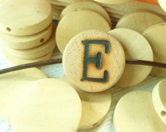 Custom Initial Bead - Monogram Pendant Bead - Wood Pendant - Wood Burned Letters - Initial Pendant - Alphabet Bead - Custom Letter Bead