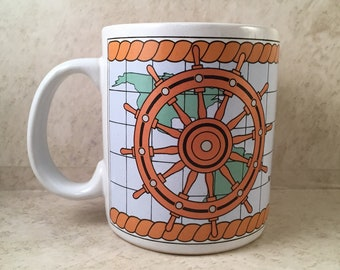 Nautical Coffee Tea Mug Captain's Wheel Anchor Map Ceramic Sailor Retro by Papel