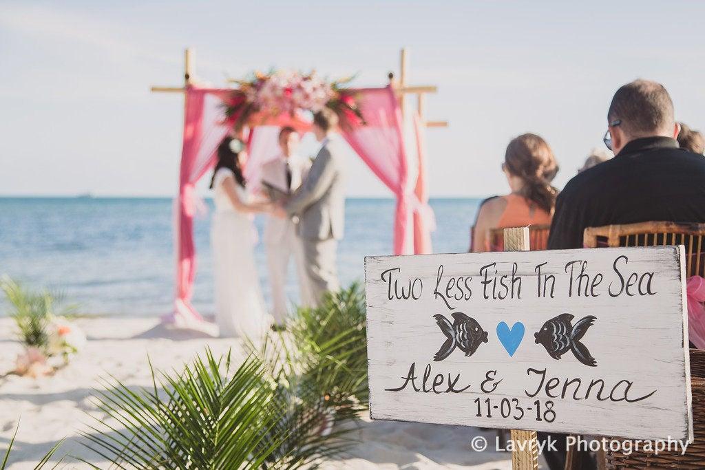 Rustic beach wedding sign nautical wedding decor gift two less rustic beach wedding sign nautical wedding decor gift two less fish in the sea beach wedding decor junglespirit Image collections