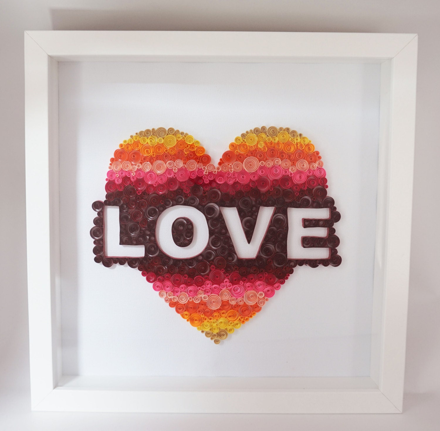 Handmade paper quilling love framed in shadow box wedding zoom negle Choice Image