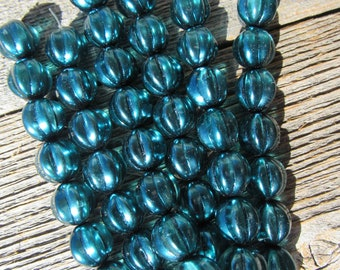 Glass Pearls Melon Rounds Blue Green 12mm