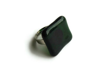 Ring with Green Glass Square