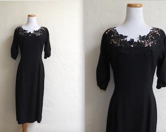 Vintage 50s NOS Minx Modes Illusion Lace Neck Wiggle Dress sz 16/17 XL