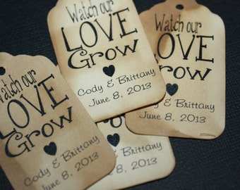 Watch our Love Grow Extra SMALL 7/8 x 1 5/8 Wedding Favor Tags