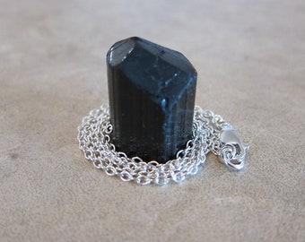 Black Tourmaline Schrol Pendant Necklace - Earth Element - by Silla - BTN1