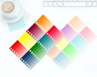 8 Multi-Coloured Bright OR Pastel Ombre Heart Checkboxes Stickers for Erin Condren LifePlanner *PREMIUM PAPER!*