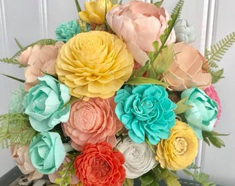 Sola flower bouquet, brides wedding bouquet, bright wedding flowers, yellow and aqua bouquet, wooden flowers, ecoflower