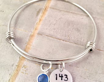 I love you Bracelet, 143 bracelet, silver charm Bracelet, love charm, birthday gift, adjustable bangle, gift for her, anniversary gift