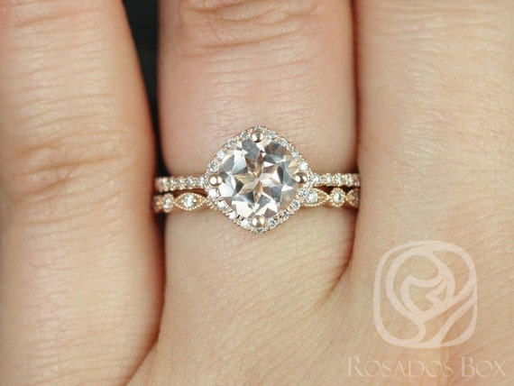 Rosados Box Kitana 7mm & Ultra Petite Bd Eye 14kt Rose Gold Round Morganite and Diamond Cushion Halo Wedding Set