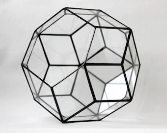 Glasterrarium. Glasmalerei Übertopf. Geometrische Terrarium. Handgemachte Glasterrarium. Kugel. Terrarium Behälter. Saftiges Pflanzgefäß