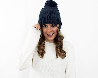 Hat Knit Chunky Pom Pom Denim- Pokomoke Hat