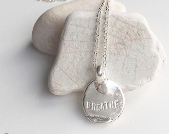 Breathe Necklace, Word Necklace, Personalized Necklace, Love Necklace, Silver Necklace