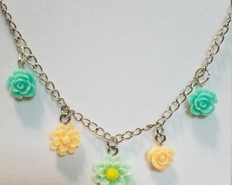 """Fresh Spring Flowers Necklace and Yellow & Green Crystals with Tibetan Silver Beads 22"""" Chain"""