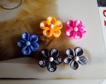 set of 5 charms fimo polymer clay flower beads