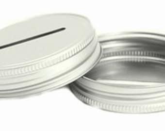 1 COIN SLOT LID Mason Jar Glass Jars Bank Diy Piggy Bank Slotted Slot Money Aluminum Galvanized Lids