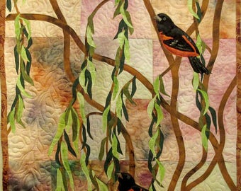 Art quilt with hand painted/dyed fabric, wall hanging  - Orioles - fiber art