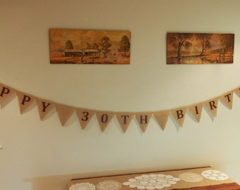Customised Burlap / Hessian HAPPY ##TH BIRTHDAY banner.